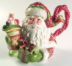 Fitz/Floyd Winter Holiday Santa Teapot & Lid