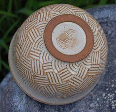 Basket weave, white glaze on terra cotta