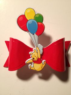 Winnie The Pooh Red Duct Tape Hair Bow Made with A Jillian Vance Bow Die