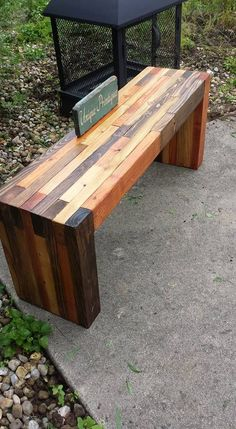 Reclaimed PALLET WOOD Rustic Bench By Unique Primtiques Salvaged Pine Walnut Oak Chestnut Stained Sealed Distressed Custom Sizes Colors