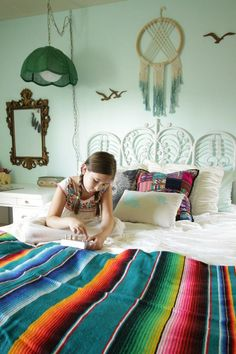 Colorful yet soft boho girls bedroom with bright global textiles, pale aqua walls, vintage touches, and loads of plants Aqua Bedrooms, Bedroom Themes, Girls Bedroom, Bedroom Decor, Eclectic Bedrooms, Master Bedroom, Interior Design Themes, Interior Styling, Fantasy Bedroom