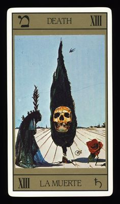 salvador dali tarot deck - moartea --I HAVE THIS DECK...BOUGHT IN LONDON IN 90'S DURING A 'PSYCHIC' FAIR... VERY NICE SET.