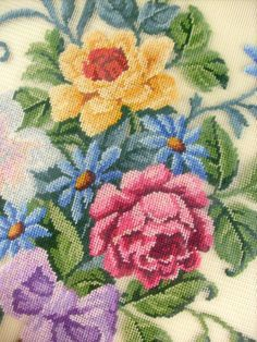 Vintage Antique Framed Petit Point Needlepoint by stbthreadworks