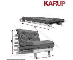 Sofá convertible en cama futón Roots, wengué y natural - 90 cm