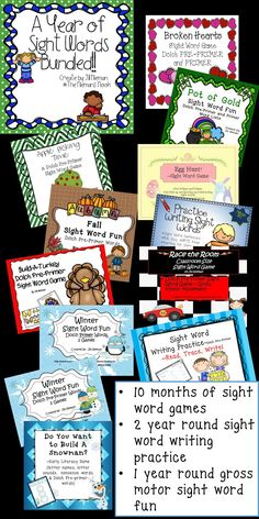 A full year's worth of sight word activities!  Perfect for kinders and struggling first graders. Save 40% off the original price!