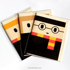 Spread some Hogwarts love by giving someone a limited-edition handmade Harry Potter greeting card. This set of 3 cards includes: Harry Potter, Hermione Granger and Ron Weasley. Perfect for birthdays, thank you or just because....