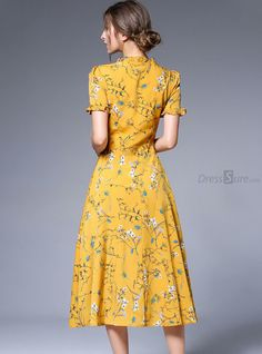 Buy Yellow Chiffon Floral Print Falbala Skater Dress with High Quality and Lovely Service at DressSure.com