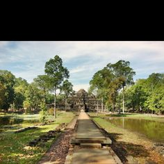 View of temple at elephant' terrace. Siem Reap
