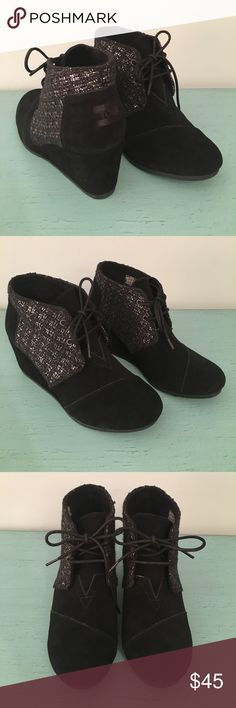"""TOMS Suede Booties NWT! 2.5"""" Wedge Heel super comfortable! Wear with skinny jeans or with tights and a mini! No box. TOMS Shoes Ankle Boots & Booties"""