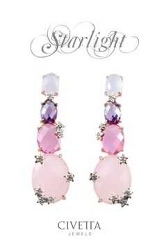 Pink gold #earrings in pastel colors, made precious and a bit coquettish by little sparkling stars. A new entry in Civetta Jewels catalogue. You can find it here: http://www.civettajewels.it/store/it/home/156-orecchini-argento-e-zirconi-rosa-.html# #jewels #jewelry