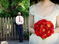 Love the pop of red from the flowers and tie.