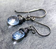 SPRING SALE Topaz Earrings with Oxidized by AllureStudioWorks, $20.70