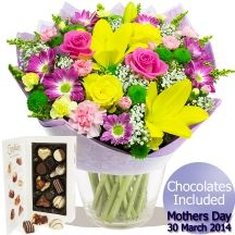 Exclusive Dearest Mum Mothers Day Bouquet and Chocolates - Pink/Yellow/Orange/Red/White >>> Read more at the image link. Pink Yellow, Orange Red, Mother's Day Bouquet, Gifts Delivered, Flowers Delivered, Chocolates, Floral Arrangements, Red And White, Floral Wreath