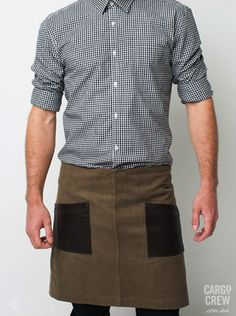 The Dillon waist apron in tabacco combines chocolate leather-look panels and 100% heavy-weight cotton canvas. More at http://cargocrew.com.au