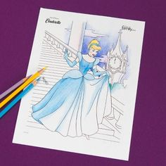 Cinderella may be in a rush to leave the ball, but you can take your time with this coloring page. #DisneySide