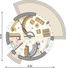 Rzut parteru - S-GL 840 Circulus Home Design Plans, Plan Design, Round House Plans, Yurt Home, Earth Bag Homes, Silo House, Architectural House Plans, Dome House, Tiny House Design