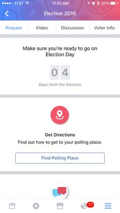 Mobile version of FB election prepare tab