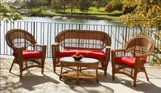 Outdoor Wicker Patio Furniture Set, Brown, with Sunbrella Red Cushions by Wicker Paradise. $849.00. Comfortable and affordable 4-piece outdoor wicker furniture set includes: 1 Loveseat, 2 Chairs, & 1 Coffee Table with SUNBRELLA Red cushions, the best fade-resistant fabrics in the furniture industry. Furniture Measurements: Loveseat (54 inches wide, 28 inches deep, 37 inches high), 2 Chairs (30 inches wide, 28 deep, 37 high), and one oval resin coffee table with glass top ...