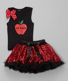 Black & Red Apple '1st Grade' Tank & Pettiskirt - Girls by So Girly & Twirly #zulily #zulilyfinds