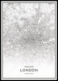 Tavla med karta över London. Poster, affisch, plansch med svartvit karta över London city.