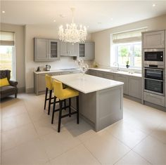 5 Bed Detached Houses, Rokeby Park, Lucan, Co Dublin MyHome.ie Residential Open Plan Kitchen Living Room, New Kitchen, Kitchen Dining, Kitchen Decor, Grey Kitchens, Home Kitchens, Kitchen Orangery, Kitchen Diner Extension, Small Room Bedroom