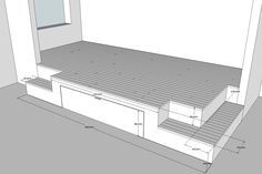 Estrade de lit. Comment organiser cette construction pour que les rangements soient accessibles ? Tiroirs sur deux niveaux ou sols basculant...