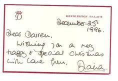 Princess Diana letter to Darren McGrady.