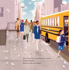 #DrawingDiversity: 'Good Morning, City' by Pat Kiernan, illustrated by Pascal Campion (Farrar, Straus and Giroux BYR/Macmillan, November 2016). All rights reserved.