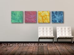 Industrial Abstract Painting 4 square panel  15 by TwistOfUnique, $240.00