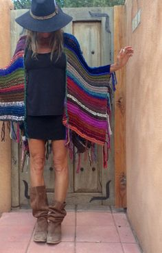 Hip Length Knitted Womens Bohemian Festival Hippie by poshbygosh Knit Fashion, Boho Fashion, Crochet Clothes, Diy Clothes, Knitted Cape, Boho Beautiful, Boho Chic, Bohemian Style, Knit Or Crochet