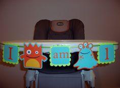 MONSTER birthday banner, I AM 1 banner, photography prop, BOY birthday. first birthday. Monster Birthday decorations,high chair banner. $12.00, via Etsy.
