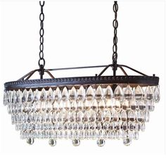 allen + roth Eberline 11.81-in 4-Light Oil-Rubbed Bronze Crystal Tiered Chandelier - dining room