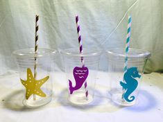 24 mermaid under the sea decals cups seahorse starfish purple teal gold party cup favor graduation striped paper straw first birthday