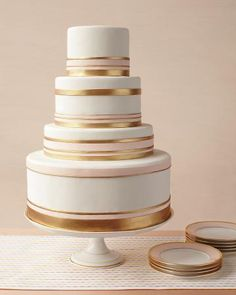 Gold trimmed wedding cake