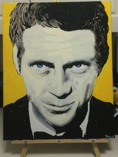 """Steve McQueen (60 & 70's Icon) Original Pop Art PAINTING! by Jamie Roxx (www.JamieRoxx.us) 16""""x20"""" acrylic and oil blend on canvas. #Retro No Reserve! #PopArt #Hollywood"""