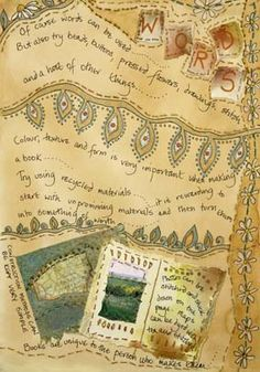 Frances Pickering is a textile artist and teacher who specialises in unique handmade books and journals Textile Fiber Art, Textile Artists, Paper Book, Paper Art, Fabric Journals, Art Journals, Textiles Sketchbook, Wool Quilts, Fabric Art