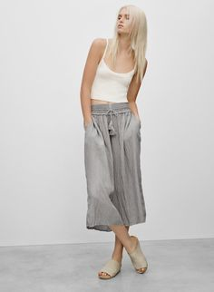 This is a flowy, wide-leg pant with a drawstring waist. It's made with an airy, fluid fabric that has a crinkled texture. Fashion Pants, Wide Leg Pants, Get Dressed, Fashion Boutique, What To Wear, Dress Up, Women Wear, Clothes For Women, My Style