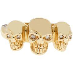 Sydney Evan Diamond Skull Ring ($982) ❤ liked on Polyvore