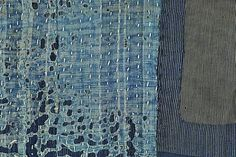 This Meiji-era (1868-1912) boro panel has many layers. The backing fabric is handwoven indigo stripe; the firstinner layer is coarse tan fabric; the second inner layer is another indigo stripe; the top layer is coarse indigo. There is a striped three-layer patch on top of the solid indigo. Sashiko stitching in natural cotton thread covers the entire surface, and two edges are bound with x-shaped stitches. Many variations of color ... $75.00