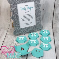 Tiffany Blue Dirty Diaper Game with Light Teal Diaper Pins and matching Silver Glitter Frame - Designer Inspired - Baby & Company Baby Shower Games by LovinglyMine on Etsy prizes Shower Bebe, Girl Shower, Fiesta Baby Shower, Baby Shower Parties, Baby Shower Party Favors, Bridal Shower, Juegos Baby Shower Niño, Do It Yourself Baby, Diaper Shower