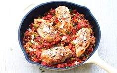 Canned tomatoes and instant brown rice make this cozy chicken skillet a breeze, with just 20 minutes of prep.