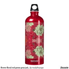 flower floral red green grey jade pattern SIGG traveler 1.0L water bottle