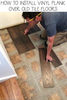 Installing Vinyl Plank Flooring, Basement Flooring, Diy Flooring, Kitchen Flooring, Inexpensive Flooring, Budget Flooring Ideas, Vinyl Tile Flooring, Tile Over Tile, Ceramic Floor Tiles
