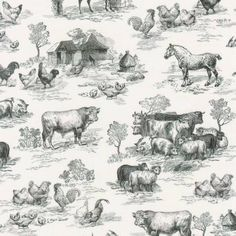 Down On the Farm Black Farm Toile Fabric