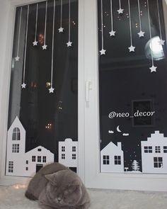 New year decor stickers window
