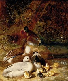 Ducks and Ducklings by Sir John F. Duck And Ducklings, British Artists, Sports Art, Ducks, Farm Animals, 19th Century, 18th, Painting, Painting Art