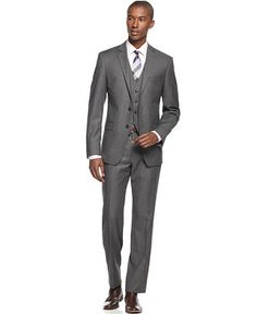 Calvin Klein X Grey Flannel Solid Vested Slim-Fit Suit - Suits & Suit Separates - Men - Macy's