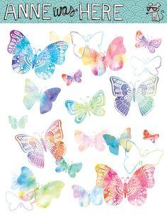 Illustrated Watercolor Butterflies - Digital Clip Art
