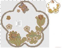 Thun piatto con fiori e farfalla schema punto croce