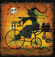 8x8 PRINT OF PAINTING RYTA FOLK ART HALLOWEEN BLACK CAT WITCH BICYCLE BASKET